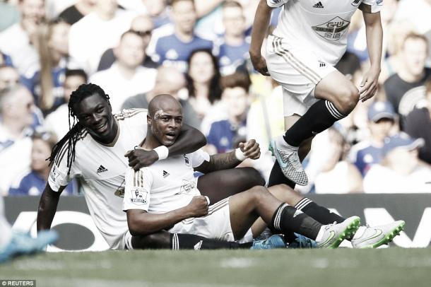 Above; Andre Ayew in action for Swansea City in their 2-2 draw with Chelsea   Photo: Reuters