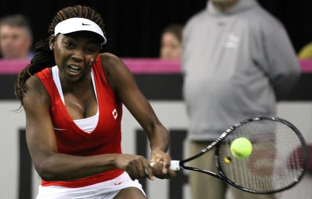 Francoise Abanda during Canada's recent tie against Belarus. Photo: Fed Cup