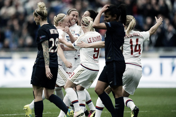 Lyon celebrate yet another goal. | Source: @UWCL