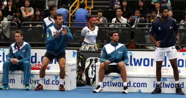 The Indian Aces bench intensely watches the day one action. Photo: IPTL