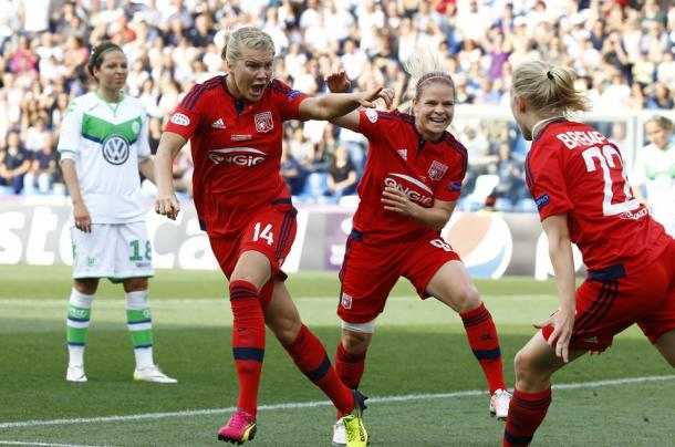 Ada Hegerberg celebrates with her Lyon teammates after scoring the opening goal in last season's Champions League final. Source: Stefano Rellandina / Reuters