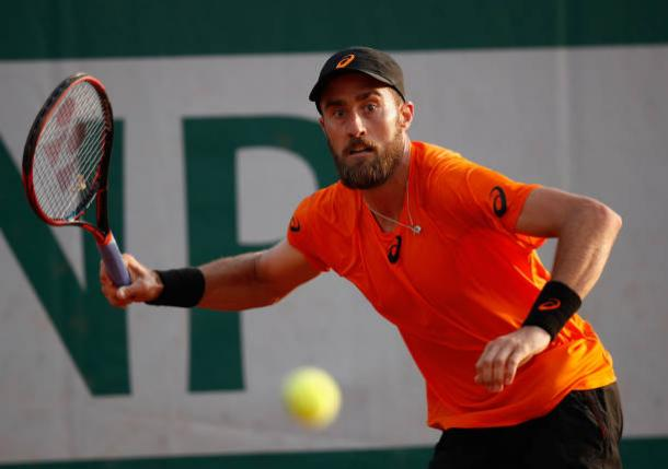 Steve Johnson in action during his first round win over Yuichi Sugita (Getty/Adam Pretty)