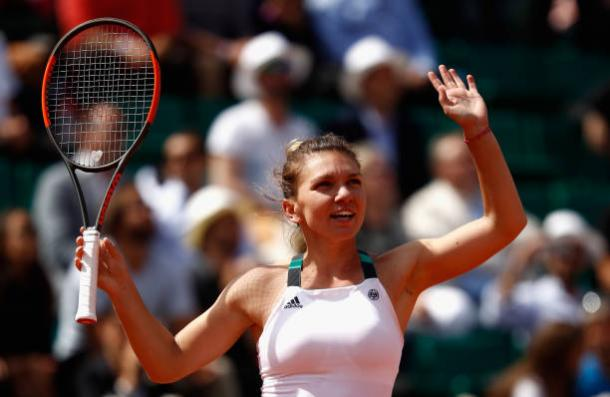 Simona Halep celebrates her comeback victory over Elina Svitolina in the last eight (Getty/Adam Pretty)