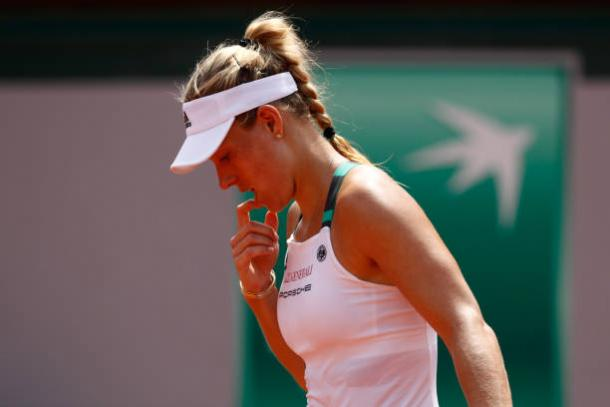 Angelique Kerber during her first round loss to Ekaterina Makarova at the French Open (Getty/Adam Pretty)