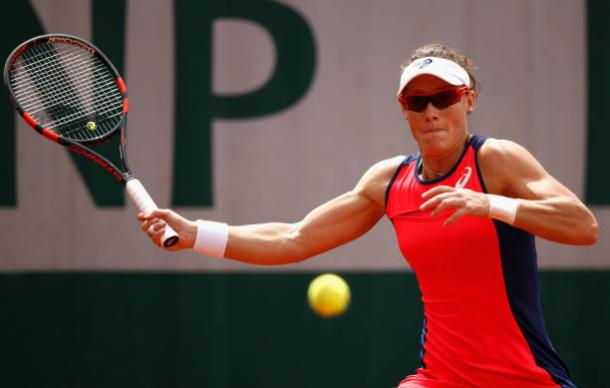 Sam Stosur during her loss to Jelena Ostapenko at the French Open, where her injury began to affect her (Getty/Adam Pretty)