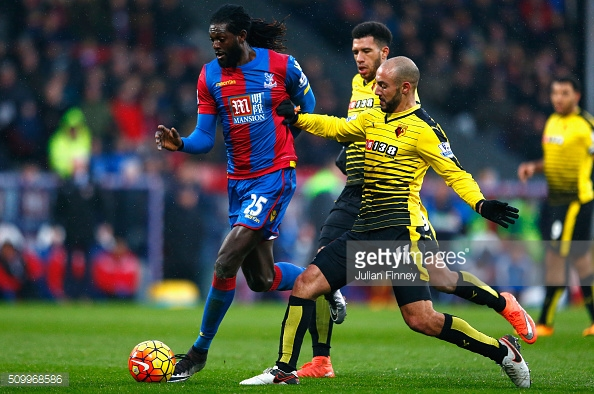 Adebayor scored his first Palace goal against Watford on Saturday | Photo: Getty images/Julian Finney