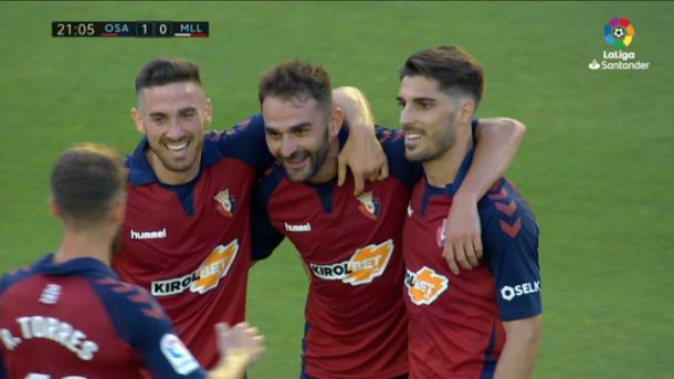 Adrián López ante el Mallorca | Fuente: LaLiga Santander