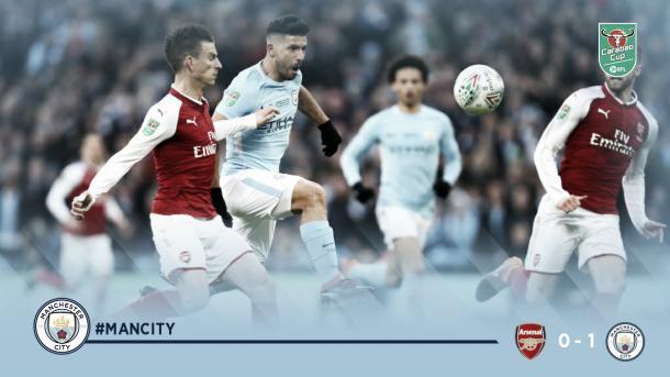 Agüero pica la pelota para anotar el 1-0. Foto: Manchester City.
