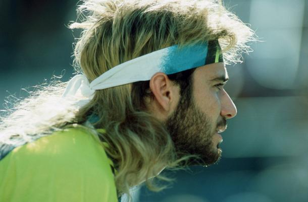 Andre Agassi's long hair, which was gone by Melbourne 1995. Photo: Getty Images
