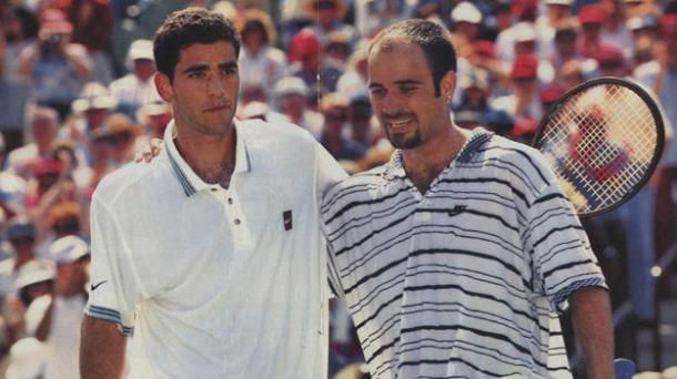 Sampras (left) and Agassi at the net after Agassi's victory. Photo: Tennis Pronostics