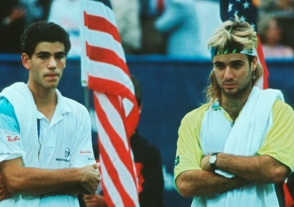 Sampras and Agassi after their first Grand Slam Final, the 1990 US Open. Photo: Getty Images