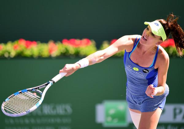 Radwanska hits a serve. Photo: Harry How/Getty Images