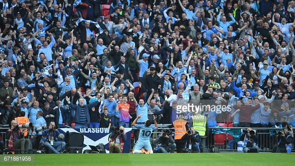 Agüero celebrates in the FA Cup semi-final | Photo: Mike Hewitt/Getty Images