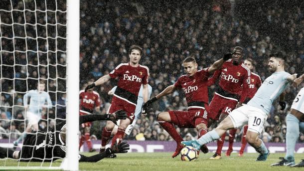 Agüero marca en el triunfo ante el Watford. Foto: SItio oficial Premier League