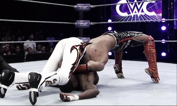 Akira Tozawa put on a technical masterclass against Kenneth Johnson (image: WWE Network)