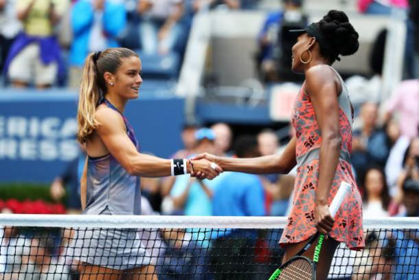 Sakkari and Williams meet after their encounter (Getty/Al Bello)