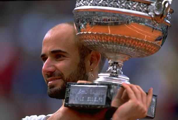 Andre Agassi after completing the Career Grand Slam at the French Open in 1999 (Getty/Al Bello)