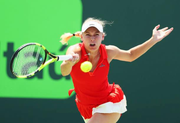 Caroline Wozniacki in action at the Miami Open in April (Getty/Al Bello)