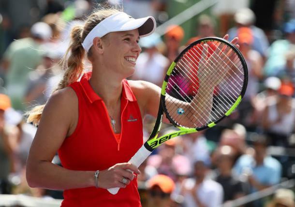 Wozniacki after winning her semifinal clash in Miami (Getty/Al Bello)