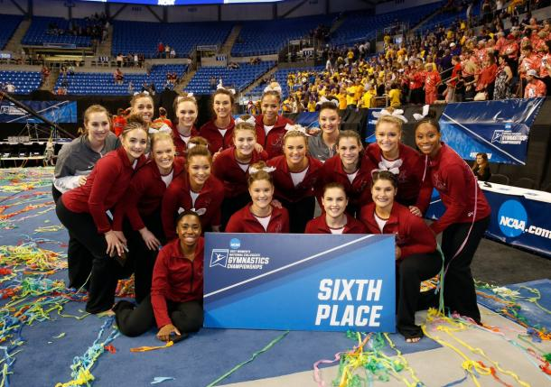 Alabama Gymnastics finished in 6th place or higher for the tenth straight year. Photo Credit: Alabama Crimson Tide Gymnastics Twitter.