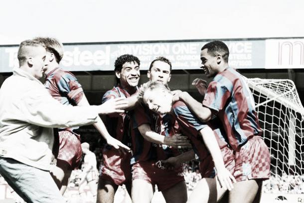 Pardew scored the goal that took Palace to Wembely in 1990, making it 4-3 against Liverpool in the semi-final. Photo: The Mirror