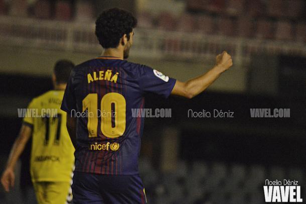 Aleñá celebrando su último gol frente al Lugo | Foto: Noelia Déniz - VAVEL