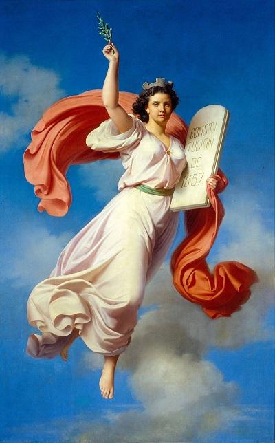 Alegoría de la Constitución de 1857 (1868). P. Monroy (1836-1882). PD.