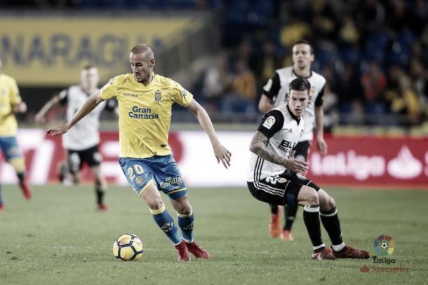 Alejandro Gálvez en el UD Las Palmas - Valencia CF de este sábado - Foto vía: laliga.es