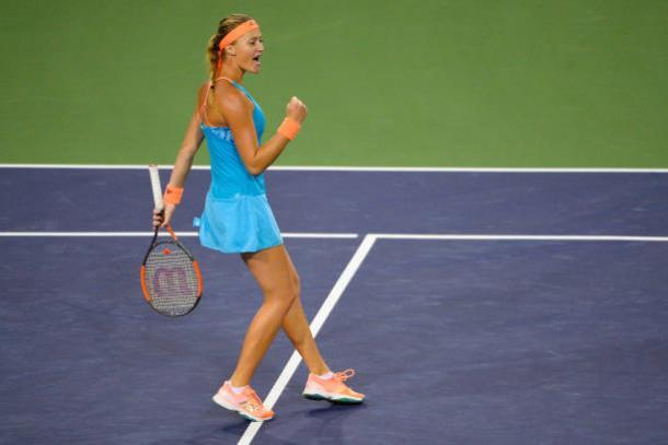 Kristina Mladenovic in action at Indian Wells (Getty/Alex Goodlett)