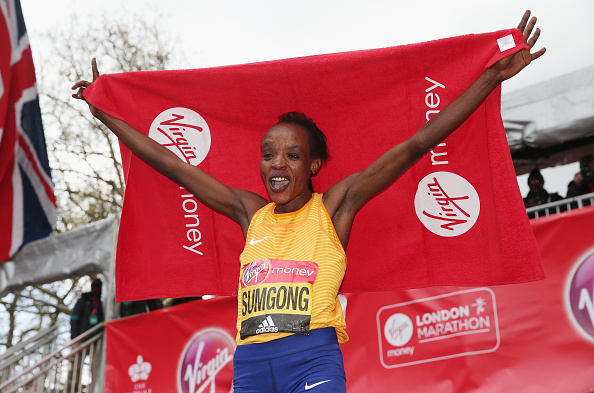 Sumgong celebrates after the race (Getty/Alex Morton)