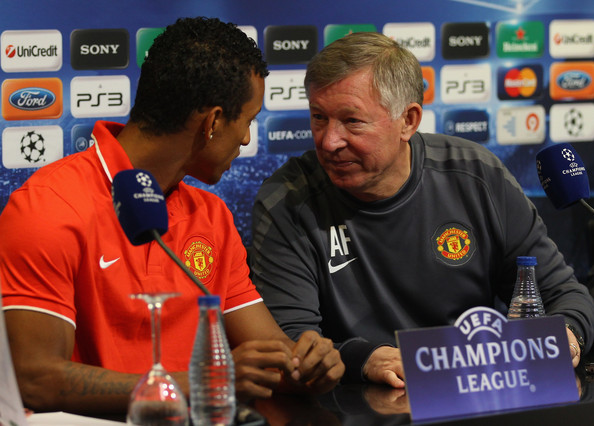 Nani and Ferguson talking during a UCL press conference (Alex Livesey/Getty Images)