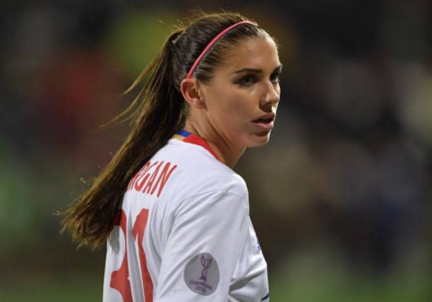 Alex Morgan of Lyon looks on during the UEFA Women's Champions League Quarter Final first leg match | Source: Stuart Franklin