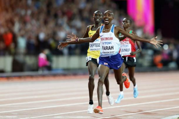 Farah leads Cheptegei and Tanui home after a thrilling contest (Getty/Alexander Hassenstein)