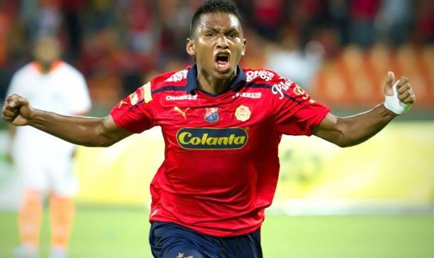 Alfredo Morelos en un partido contra Envigado F.C con el DIM | Foto: El Colombiano