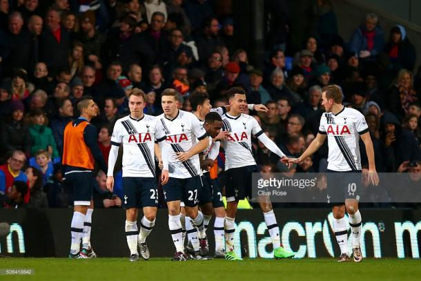 Spurs' players congratulate Alli on his superb goal against Palace in January, and Francesca feels Palace should fear the England international once again (Photo: Getty images/Clive Rose