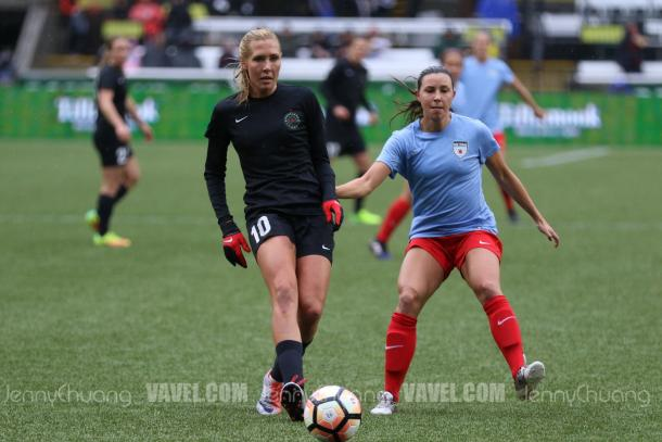 Allie Long during the Portland Invitational | Source: Jenny Chuang - VAVEL USA