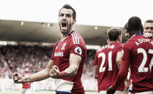 Alvaro Negredo celebreates his first Premier League goal since 2013 | Photo: Getty Images
