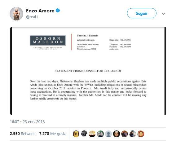 Texto del abogado de Amore que prueba su inocencia | Fuente: Twitter