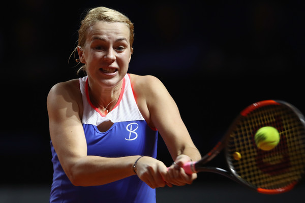 Anastasia Pavlyuchenkova's narrow escape in the first set proved to be the difference in the match | Photo: Alex Grimm/Getty Images Europe