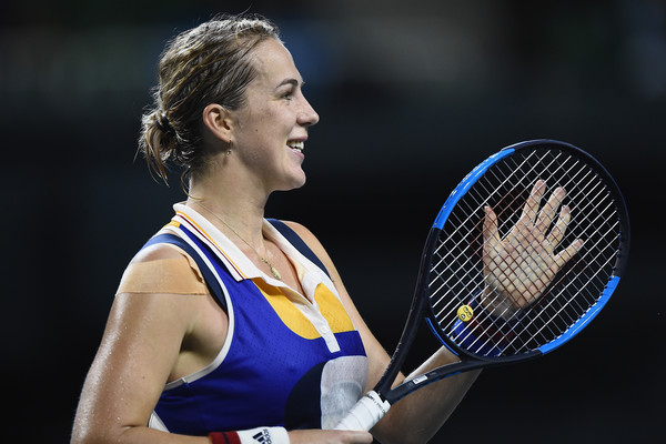 Anastasia Pavlyuchenkova applauds the crowd after her win | Photo: Matt Roberts/Getty Images AsiaPac