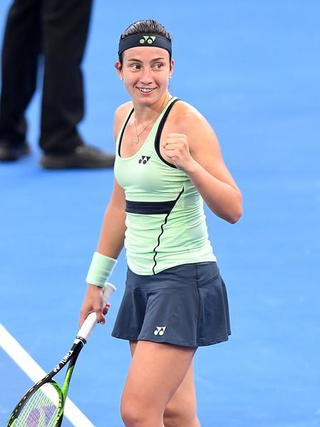 Anastasija Sevastova celebrates her excellent win | Photo: Bradley Kanaris/Getty Images AsiaPac