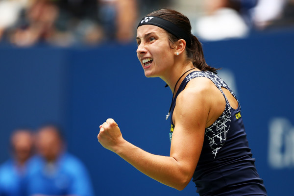 Anastasija Sevastova reacts after winning a point during her fourth-round match against Maria Sharapova at the 2017 U.S. Open. | Photo: Clive Brunskill/Getty Images