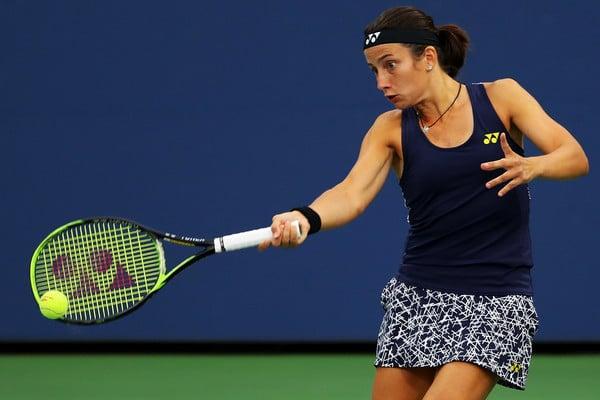 Anastasija Sevastova in action during her third round match against Donna Vekic | Photo: Richard Heathcote/Getty Images North America