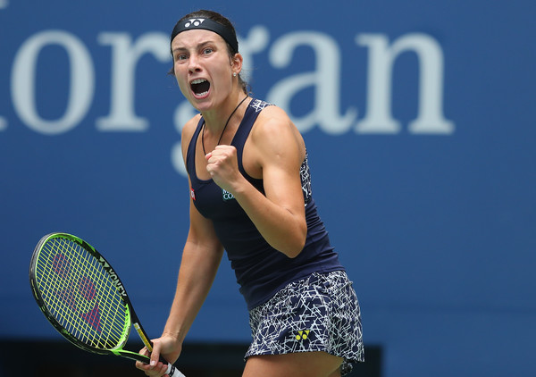 Anastasija Sevastova was full of emotions after match point | Photo: Richard Heathcote/Getty Images North America