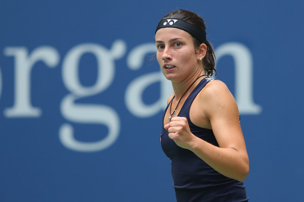 Anastasija Sevastova reacts after winning a point during her fourth-round match against Maria Sharapova at the 2017 U.S. Open. | Photo: Richard Heathcote/Getty Images
