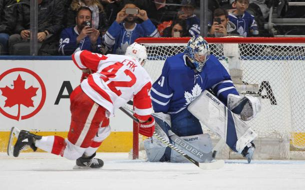 Frederik Andersen (right) made 38 saves on Saturday night, none bigger than on Martin Frk's penalty shot. Photo: Claus Andersen/NHLI via Getty Images