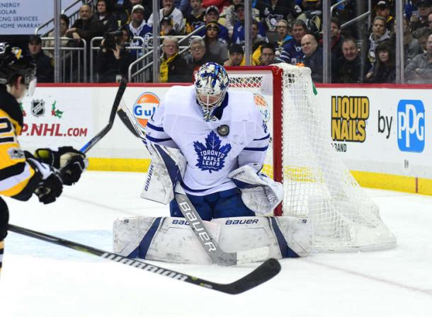 Frederik Andersen makes one of his 33 saves during the win over the Penguins. Photo: Matt Kincaid/Getty Images