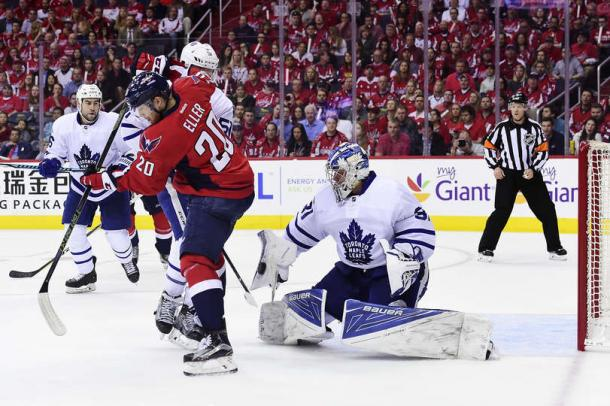 Andersen makes a save during game one. Photo: Patrick McDermott/Getty Images