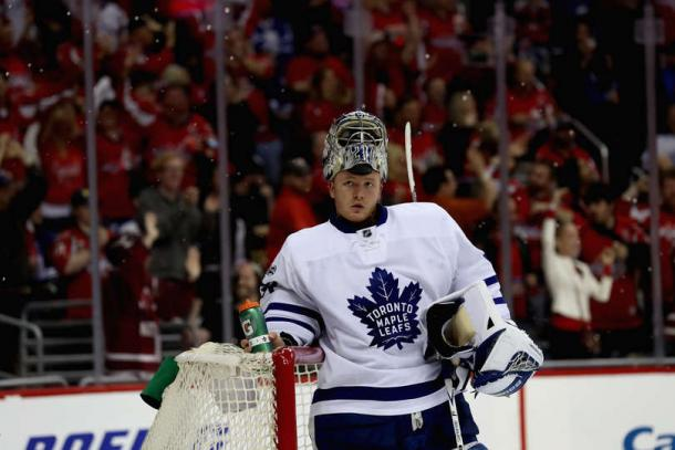 Freddy Andersen made 47 saves in the Leafs' victory. Photo: Rob Carr/Getty Images