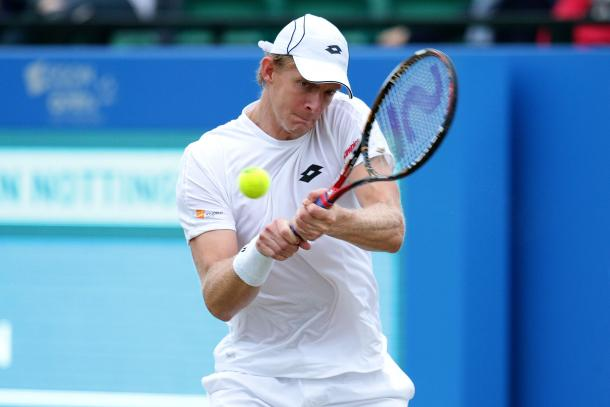 Top seed Anderson looked frustrated with his game at times during the match. Photo: Getty
